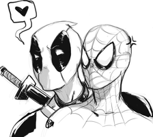 Spideypool: Hey Babe by Bniedahobbit
