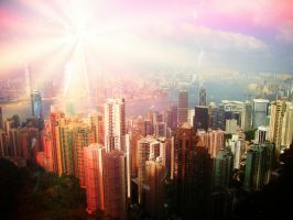 Light over Hong Kong by Laura-in-china