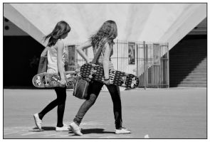 girls and their skateboard by streetlivefotograph
