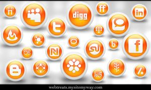 Glossy Orange Orb Soc. Media by WebTreatsETC