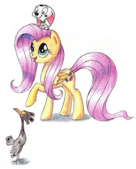 Fluttershy, Cadpig and Spot by Sirzi