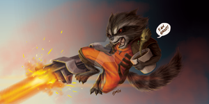 Rocket Racoon and Groot by Dinosalazar