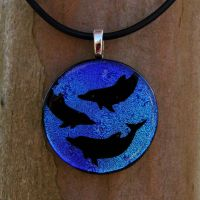 Swiming Dolphins Fused Glass by FusedElegance