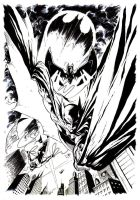 BATS ON GOTHAM - Black and White version by UmbertoGiampaArt
