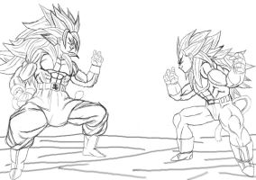 Son Goku VS Vegeta by Gothax