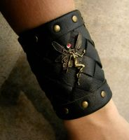 Fairy Leather Bracer - Cuff - Bronze Black Rainbow by LadyPirotessa