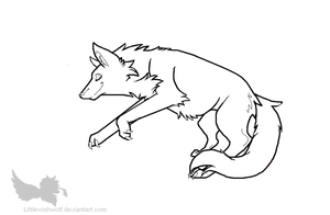 Free leaping wolf lineart by LittleWishWolf