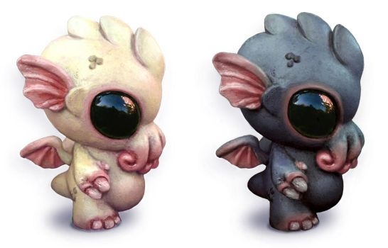 Dark and Light Baby Cthulhu by Kahiah