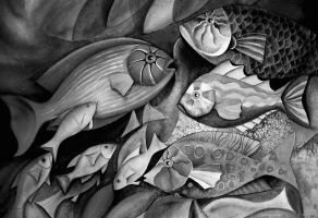 black and white fishes by karincharlotte