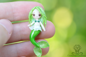 Polymer clay Tiny Green  Mermaid by Crystarbor