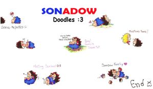 Chibi Hedgies 13 - Sonadow doodles by Chonik-the-Porcopine