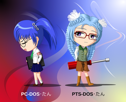 chibi PCDOS-tan and PTSDOS-tan by C-quel