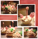 noodels and flamingo cupcakes by chocobeery