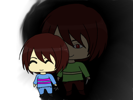 Looming- Frisk and Chara by EnglandAmericaItaly
