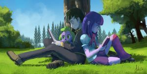 Commission - The  reading place. by Raikoh-illust