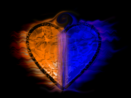 Fiery two-tone heart [Blue, Orange] by impraziel
