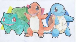 Bulbasaur, Charmander and Squirtle by James-26133