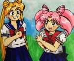 Re-Draw: Usagi and Chibiusa Fight by Magical-Mama