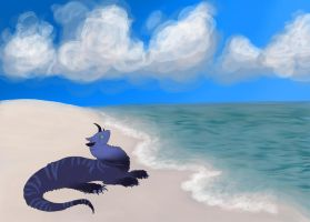 Chilling at the beach by MooshuFezrit