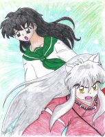 InuYasha and Kagome by MilleniumFoxMagician