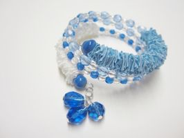 Blue and White Ribbon Memory Wire Bracelet by Artisticat86