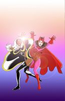 Storm and Scarlet Witch by txboi001