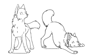 Free Wolf Linearts by CatLuvsCookies