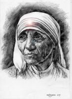 Mother Teresa pencil on paper by mORGANICo-cOM