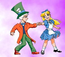 Alice and Hatter3 bg by BoomtownRat1