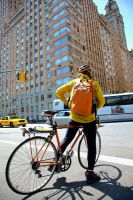 City Cyclist in Yellow by RakelClark