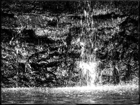 black and white close up of waterfall by 4dpaul