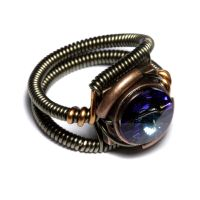 Steampunk Ring Bermuda Blue 2 by CatherinetteRings