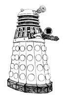 Dalek Black and White by IBelongToTheDoctor