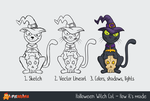 Free Halloween Witch Cat by pixaroma