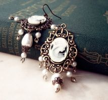 Brass and Cameo Earrings by Aranwen