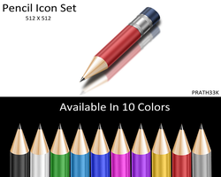 Shiny Pencil Icon Set by PRATH33K