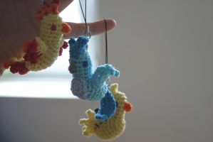 Legendary Bird Pokemon Amigurumi Charms by Herzstueck-Handmade