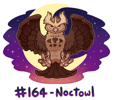 Pokemon #164 - Noctowl by oddsocket