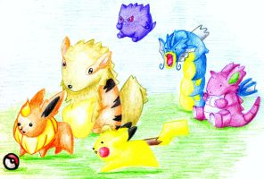 Point Comission: Chibi Kanto Team by The-Last-Silver-Moon