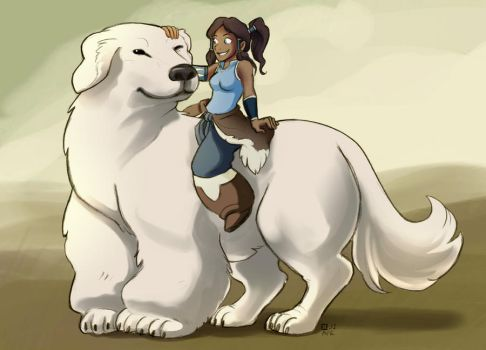 Korra and Naga by StressedJenny