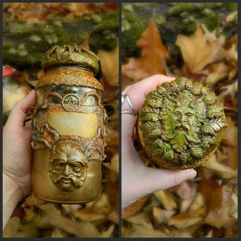 Greenman apothecary jar by EMasqueradeGallery