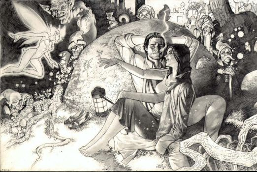 Lan Medina: Snow White and Bigby Wolf Commission by comiconart