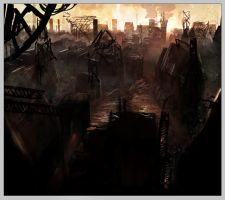 Steampunk city at dusk by Joblh