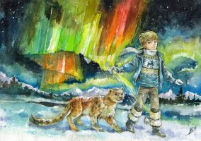 boy and polar lights by Maria-Sandary