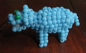 Beaded hippopotomus by Anabiyeni