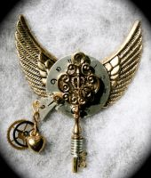 Steampunk Pendant w wings by Lucky978