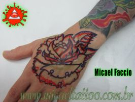 Freehand Rose Hand Tattoo Markers Sketch by micaeltattoo