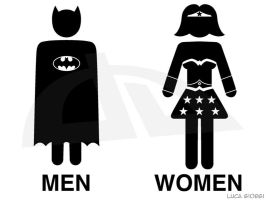 Batman and WonderWoman Toilet by LucaGiorgi