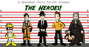 Police Lineup: The Heroes by Spaceman-Chris