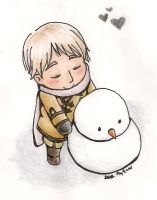 Chibi Ivan and Mr. Snowman by Novembrist